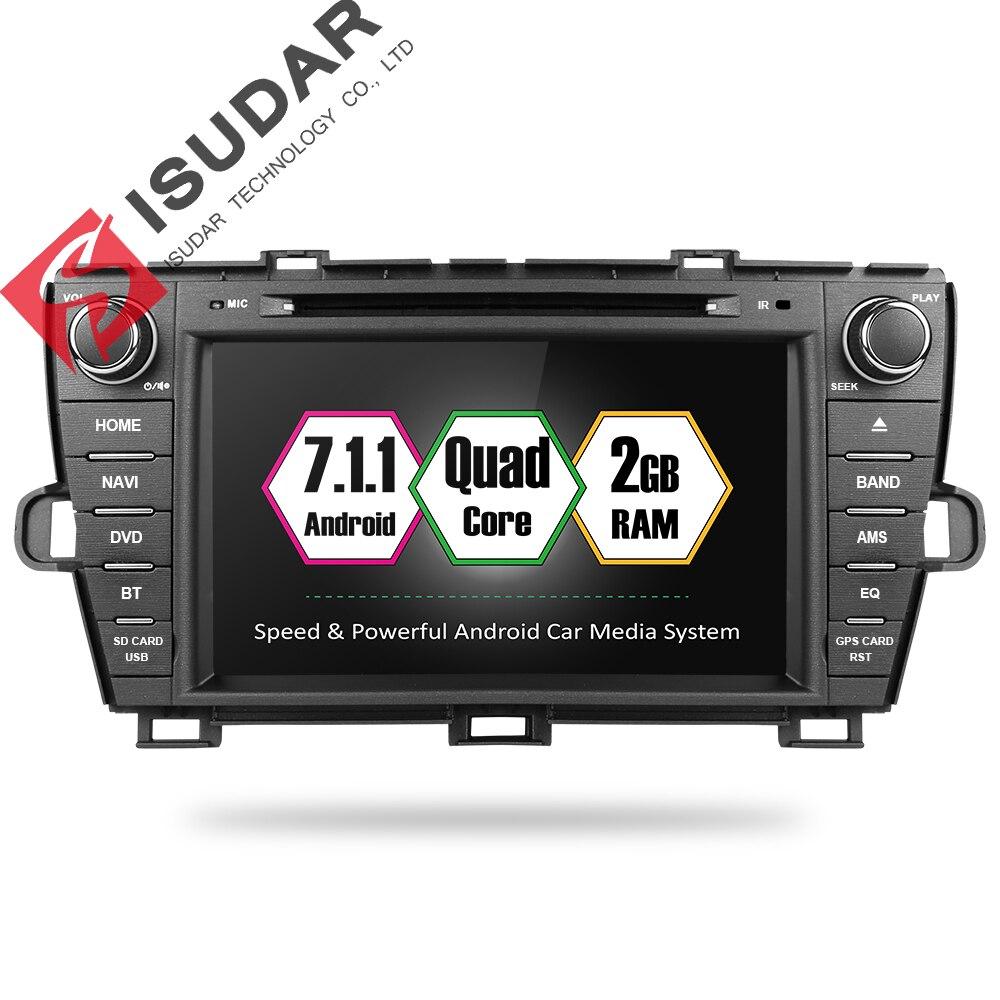 Isudar автомобильный мультимедийный плеер 2 din Авто DVD android 7.1.1 8 дюймов для Toyota Prius 2009-2013 левое Вождение четырехъядерный радио FM gps