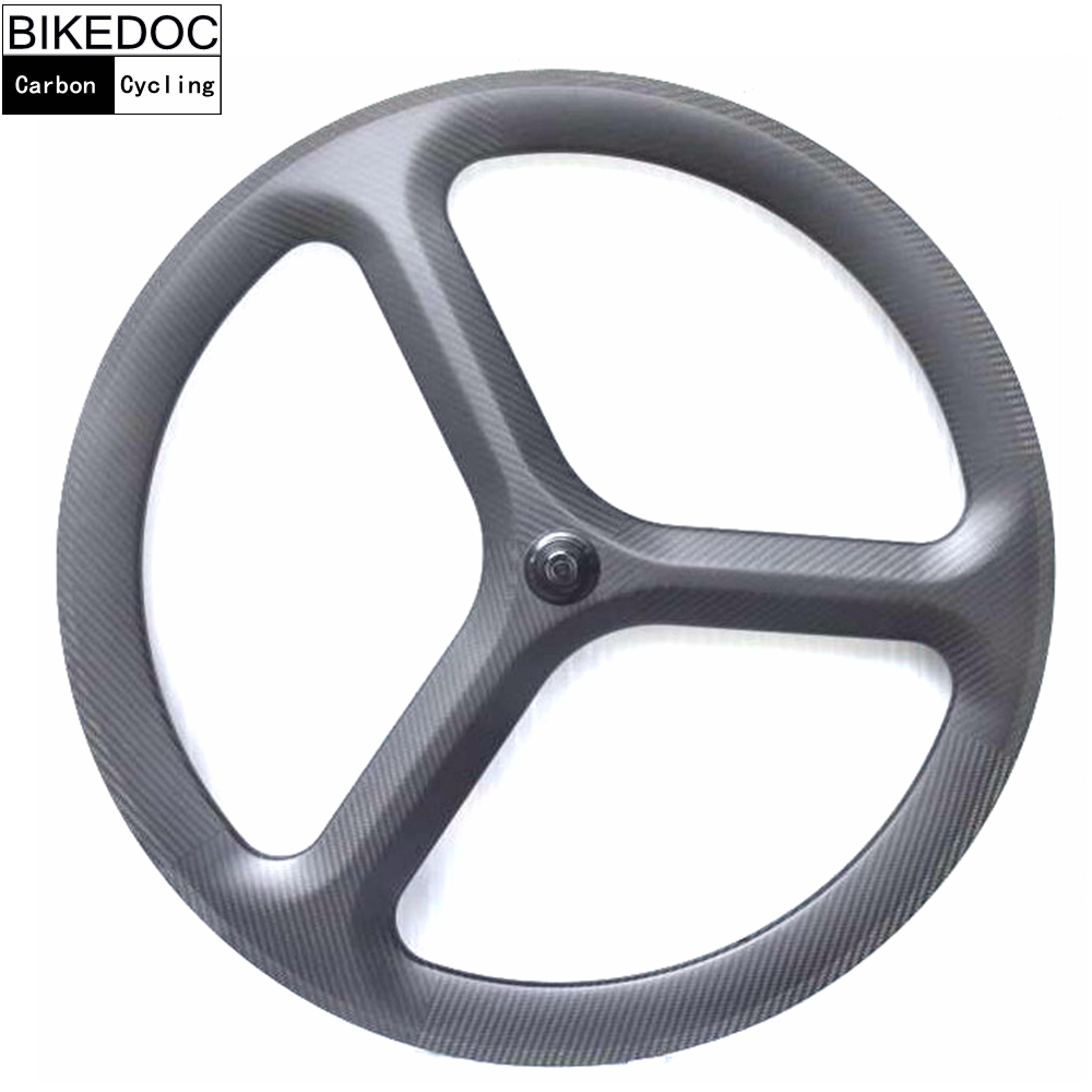 BIKEDOC carbon 3 spoke wheel road /track/fixed gear carbon wheels 700c clincher tri spoke wheel bicycle wheel for chosen hub free shipping 700c carbon fixed gear frame and fixed gear wheels track bikes frame fixed gear bicychle wheels and fork set