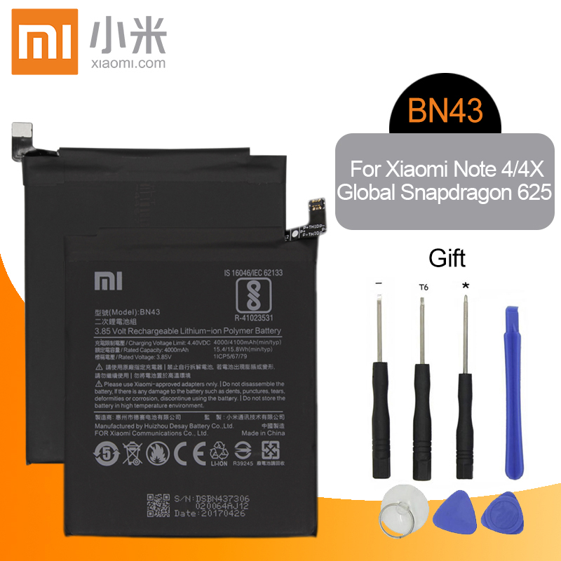 Xiao <font><b>Mi</b></font> Original BN43 Replacement Phone <font><b>Battery</b></font> Capacity 4000mAh For Xiaomi Redmi Note 4 / Note <font><b>4X</b></font> global Snapdragon 625 Tools image