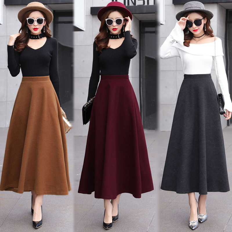 Image 2 - High Waist Woolen Skirts Womens Winter 2018 Fashion Streewear Wool Long Pleated Skirt With Belt Casual Ladies Saia Longa Black-in Skirts from Women's Clothing