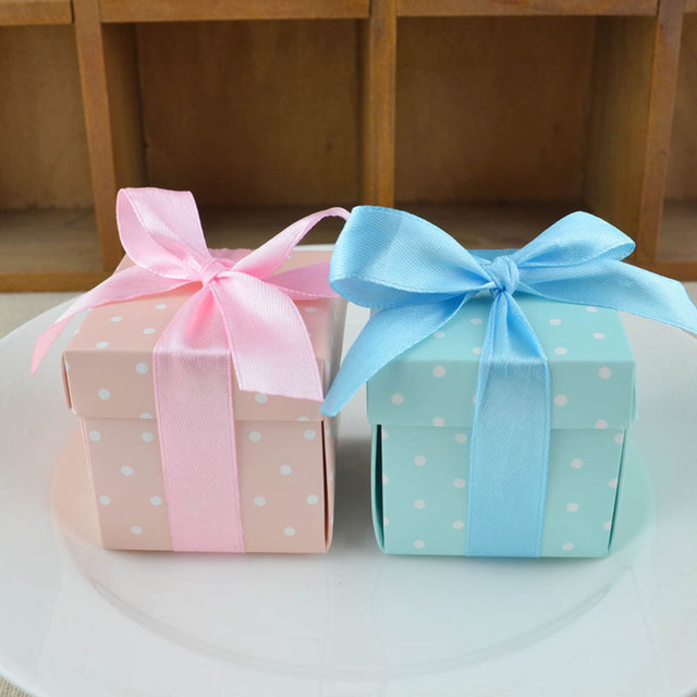 50pcs Blue Pink Dots Candy Boxes Gift Box Chocolate Bag Souvenirs