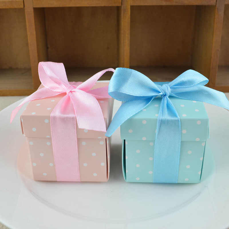 Detail Feedback Questions About 50pcs Blue Pink Dots Candy Boxes
