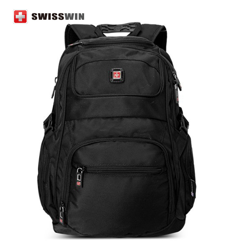 Swisswin Men's Backpack for 15-inch Macbook Fashion Business Laptop Bag For Travel and Work Black Bagpack for Teens lowepro protactic 450 aw backpack rain professional slr for two cameras bag shoulder camera bag dslr 15 inch laptop
