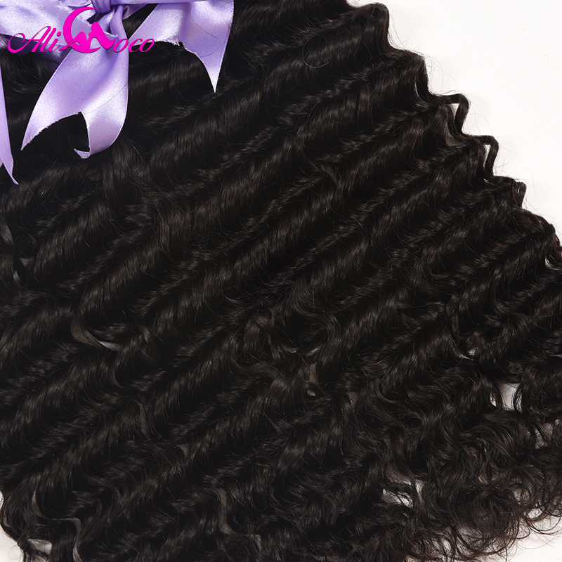 Ali Coco Hair Deep Wave Brazilian Hair Lace Frontal Closure With Bundles Human Hair 3/4 Bundles With Frontal Non Remy Weave