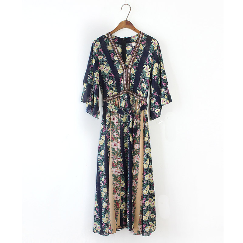 Buy Cheap Bohemian Women V Neck Tropical Floral Print Dresses Embroidery Patchwork Empire Holiday Long Dress Maxi Chiffon Vestiods Casual