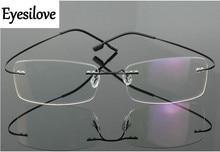 Eyesilove non-screw rimless optical glasses frames memory titanium eyewear frame for prescription myopia or reading glasses