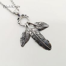 Black Knight 3pcs Stainless steel Eagle feather pendant necklace Vintage silver color Indian style Feather necklace BLKN0724 vintage feather necklace