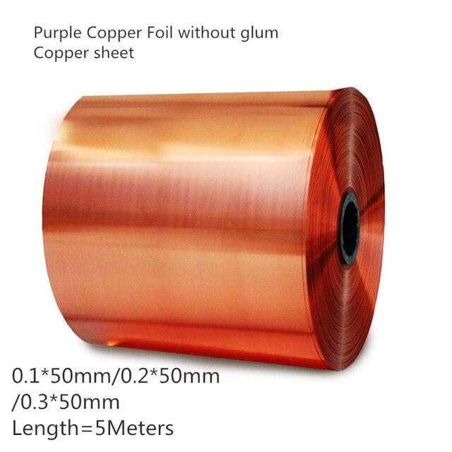 Hohe qualität 0,1mm * 50mm/0,2mm * 50mm/0,3mm * 50mm, L = 5 meter, T2 Lila Kupfer Folie ohne Düster, kupfer blatt