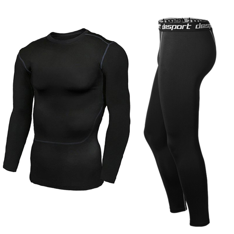 Mens Sports Suits Running Tops+Pant Fitness Basketball Men Compression Leggings Base Layers Tee Shirts Sets Long Sleeve Suits 17 18 newest hulk bike jerseysman batman compression base layer tights men thermal long sleeve tee shirts sports jerseys fitness