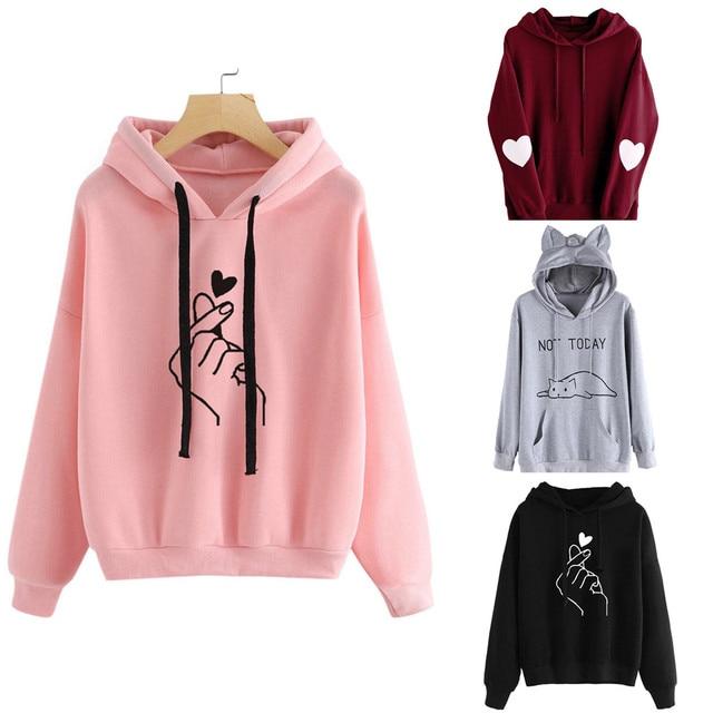 Harajuku Pink Hoodies Women Show Love Heart Printed Hooded Sweatshirts  Oversize Tops Ladies Cat Ear Pullover a46f82478330