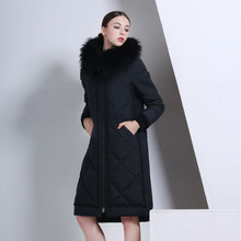 2016 Europe and thick down jacket Girls long paragraph Slim was thin large size high-end luxury Nagymaros collar