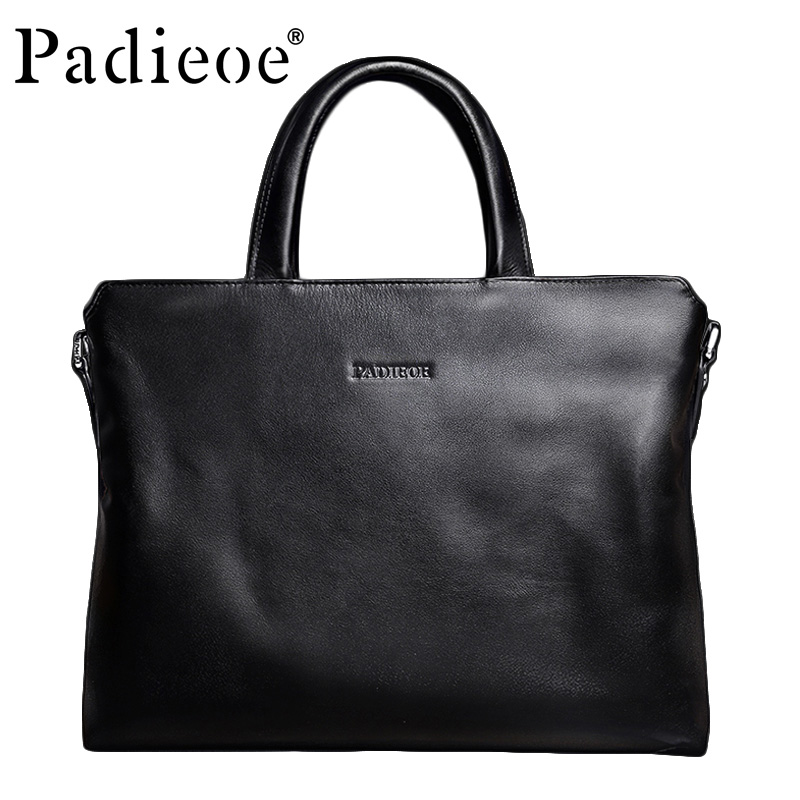 Padieoe Luxury Genuine Leather Men Casual Tote High Quality Durable Men Leather Bag Fashion Casual Business Men Leather Handbag padieoe luxury business men vintage handbag high quality men s retro split cow leather shoulder bag fashion casual tote bag