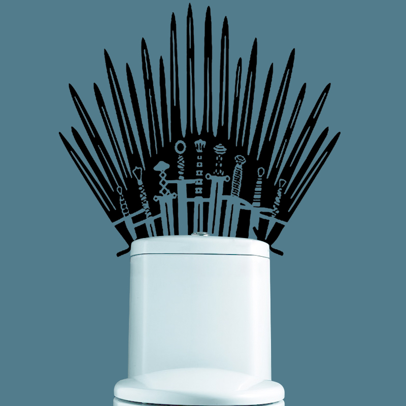 GY09 Iron Throne Toilet wall Sticker Game of Thrones katana Decal for behind your toilet on Bathroom for home decor