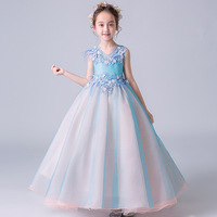 Нарядное длинное платье принцессы с цветочным узором для девочек; праздничное платье; детская официальная одежда; Детские платья для девоч