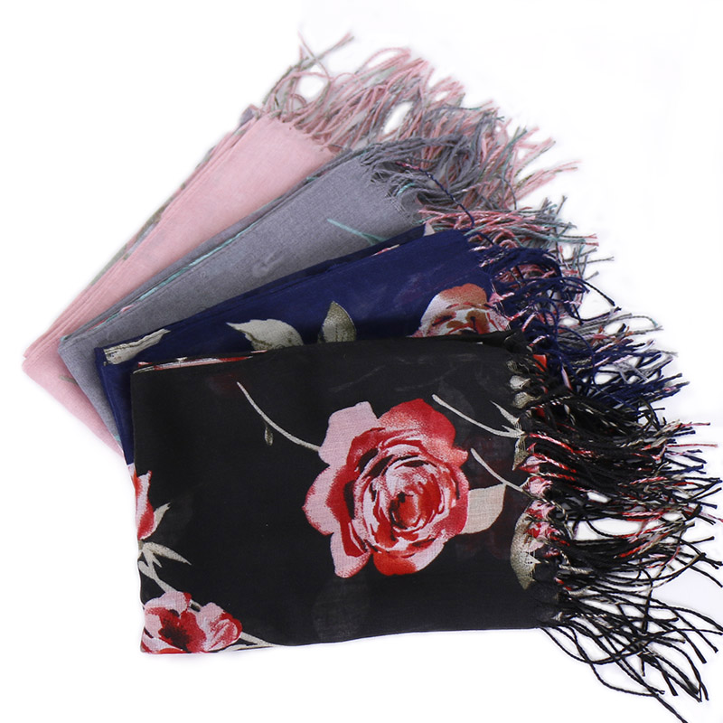 2019 Tassels hijab scarf printe flower shawls muslim hijab scarves lightweight wraps fashion Islamic headband scarves