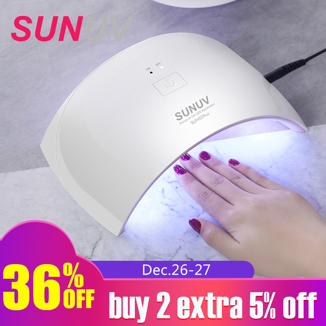 SUNUV SUN9c Plus 36W UV Light LED Nail Dryer UVLED Gel Nail Lamp Arched Shaped Lamps for Nail Art Perfect Thumb Drying Solution
