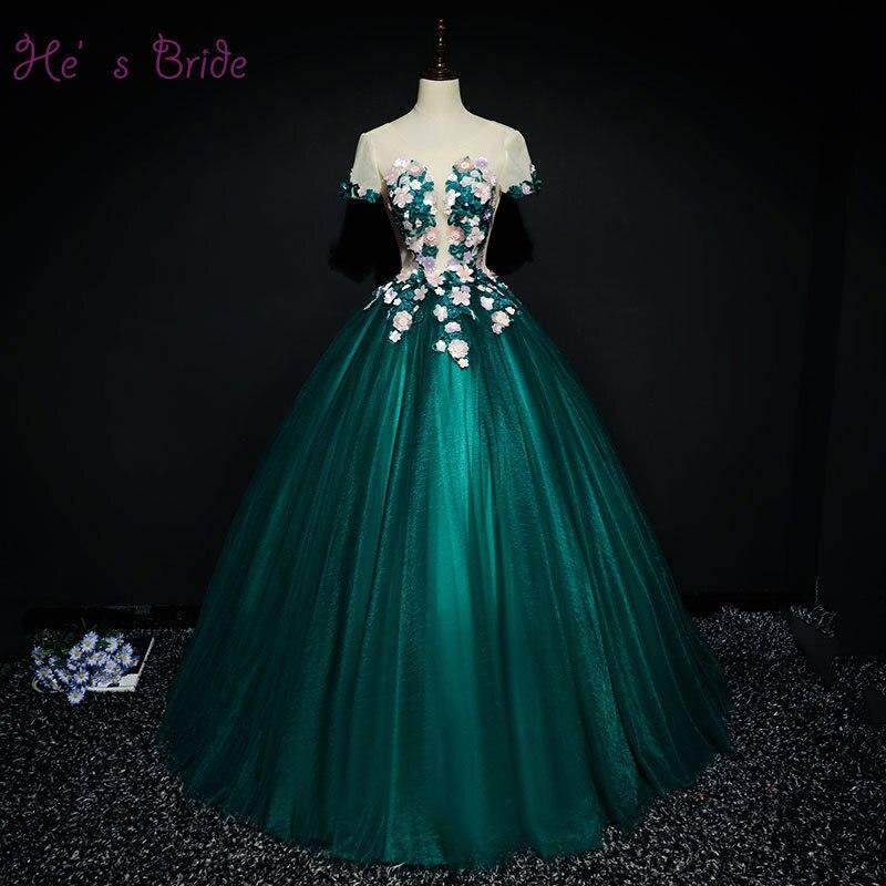 Женское свадебное платье It's Bride зеленое бальное до пола со шнуровкой короткими