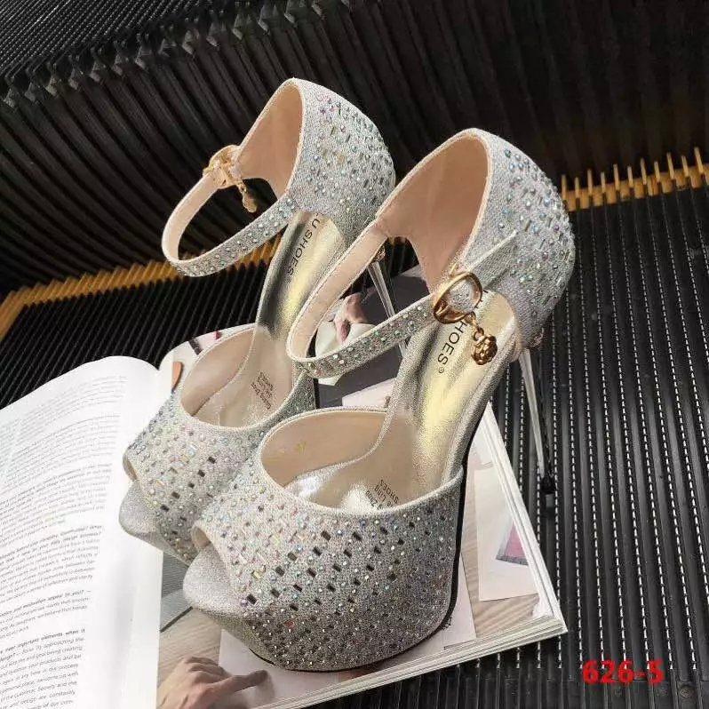 ФОТО Catwalk models diamond shoes high with fine with a single shoe nightclub waterproof 15CM high sandals hollow fish head shoes