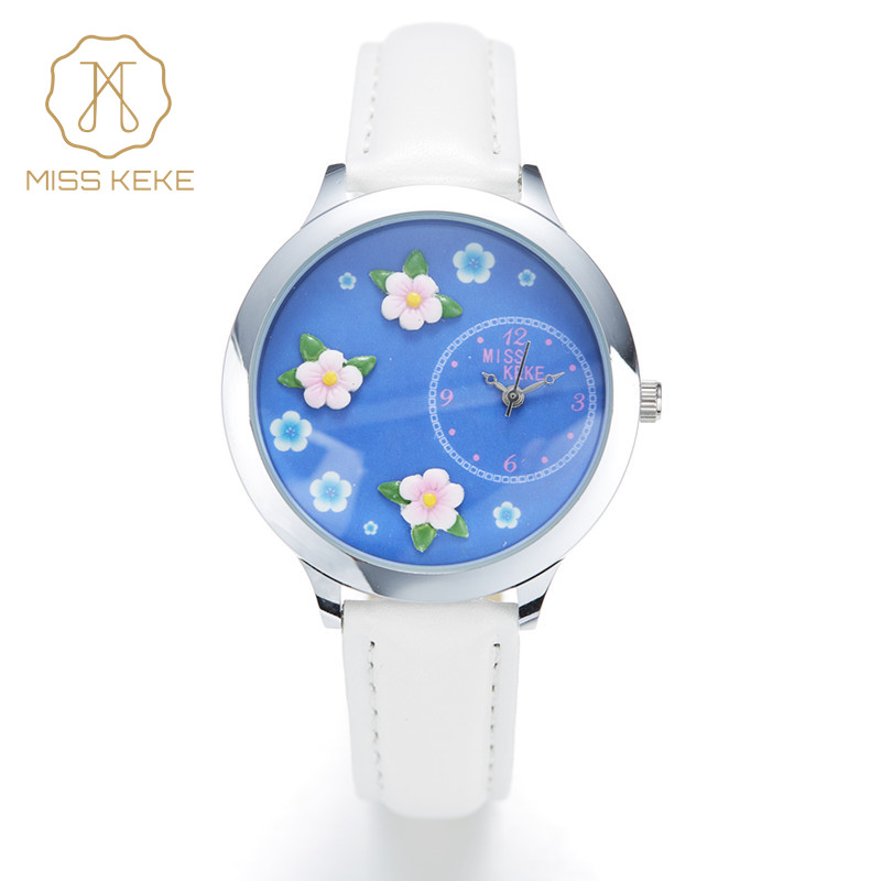 MISS KEKE 2018 ny Genève 3D-lera Crystal Floral mode Design armband klocka kvarts kvinnor Cartoon Ladies bule Armbandsur 013