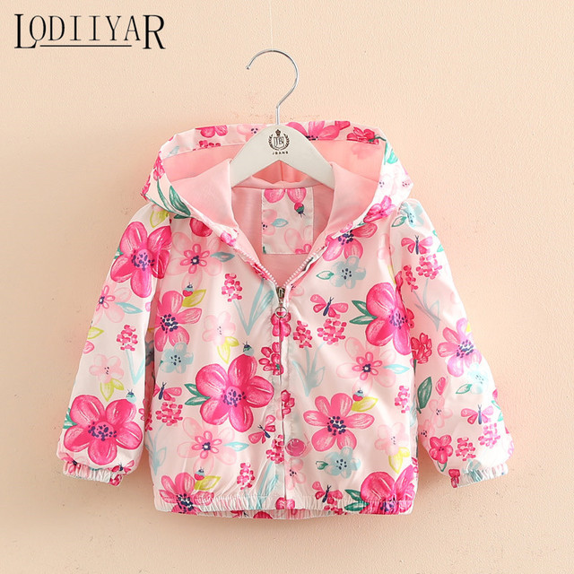 Baby Girls Printed Flowers Zipper Coat Autumn Winter Children Cute Trench Kids Girls Clothing, Sports Outerwear, Jacket
