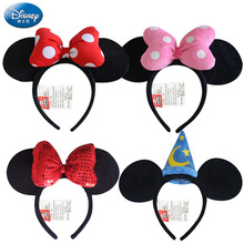 Disney Genuine Toys Minnie Mouse Headdress Plush Mickey Head Minnie Ears Girls Hair Bands Princess Head Hoop Kids birthday Gift