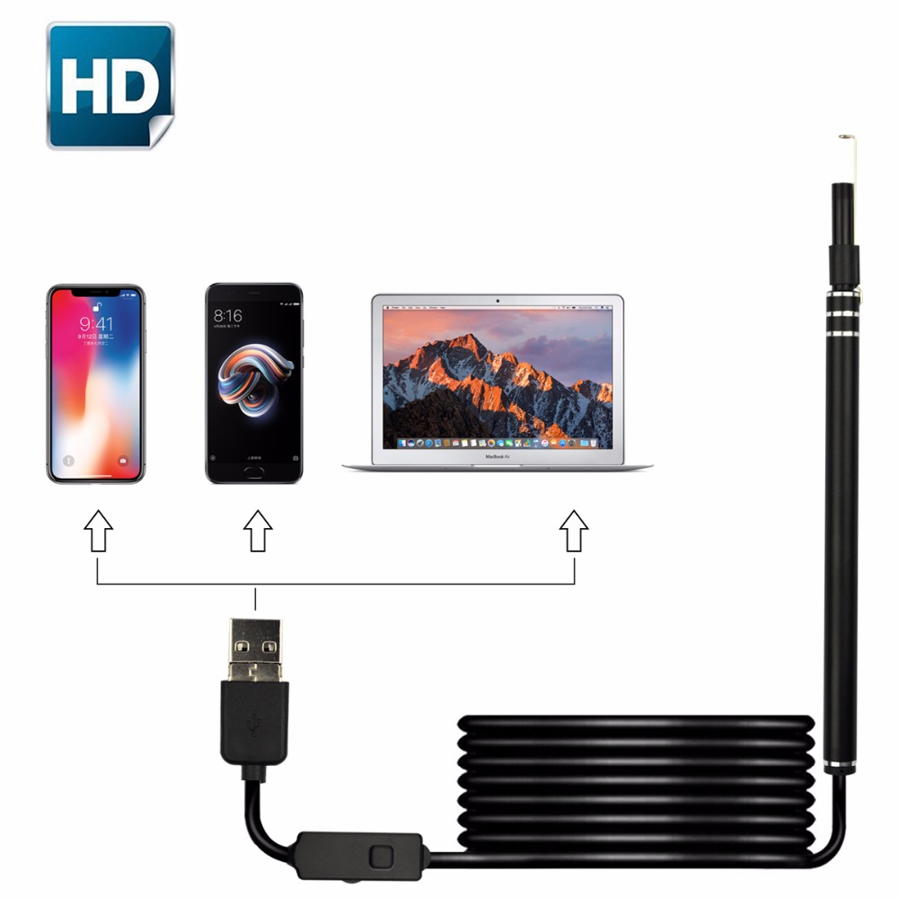 USB Endoscope Hidden Camera PC Ear Cleaning HD Video Otoscope Ear Scope Cleaner with 6LED Light Borescope for Android Type c