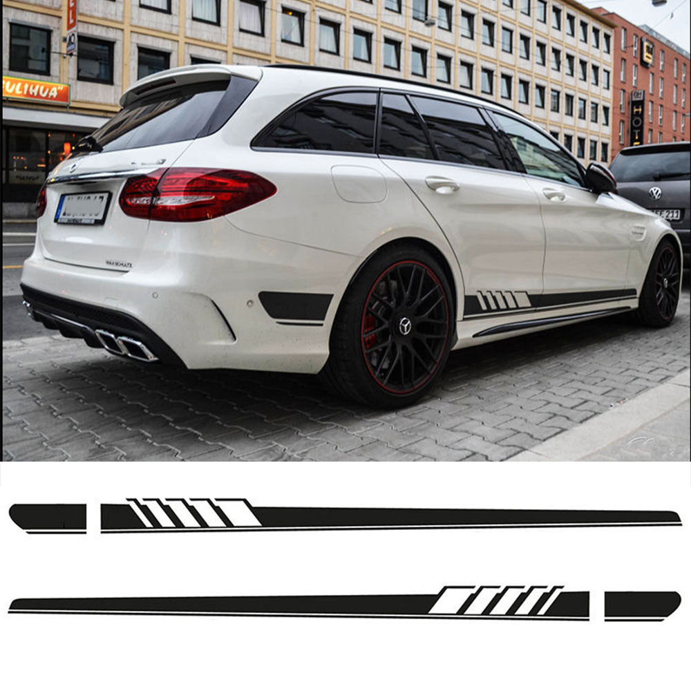 2 pcs Edition 1 Car Styling Side Racing Stripe Skirt Vinyl Decal Stickers for Mercedes Benz S205 C Class Estate AMG Accessories car styling auto amg sport performance edition side stripe skirt sticker for mercedes benz g63 w463 g65 vinyl decals accessories