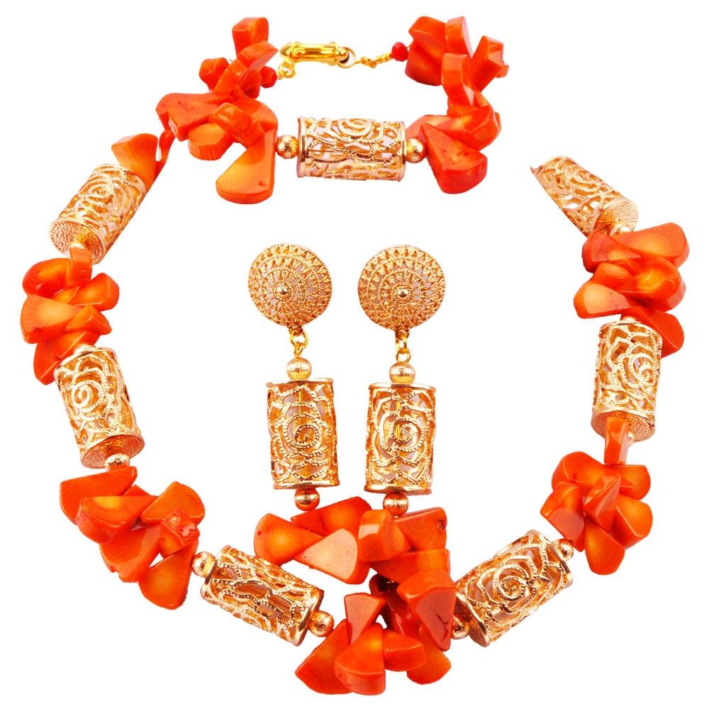 Women Nigerian Wedding Orange Coral Necklace Sets African Beads Jewelry Set RCBS30