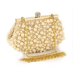 Free Shipping Gold Metal Women's Shell Pearl Clutch Bag Full Beaded Evening Bag. Luxury Wedding Pearl Diamond Clutches 6850