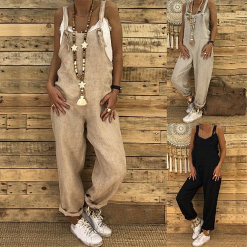 Women   Jumpsuit   Solid Color Baggy Hip Hop Harem Pants Casual Bib Pants TY66