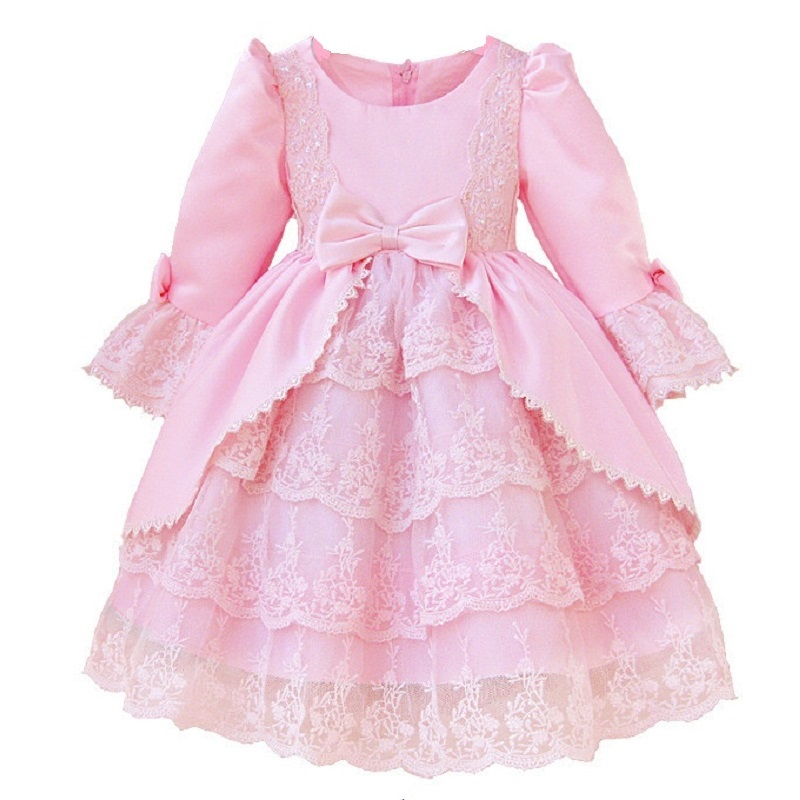 2 10 year girl European American court princess dress High quality lace bow elegant dress Exquisite sequin banquet sweet dress