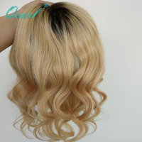 Qearl пробор Ombre Синтетические волосы на кружеве парик Малайзии человеческих волос парик шнурка для черный, белый цвет Для женщин предварител