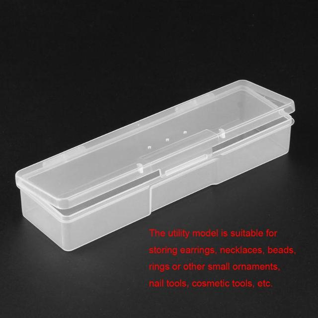 Translucent Nail Art Storage Box Rectangle Nails Dotting Drawing Studs Brushes Holder Container Manicure Case Drop Shipping
