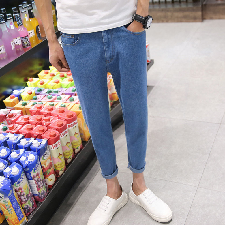 New 2020 Fashion Casual Jeans Men Summer Slim Fit Harem Pants Hip Hop Boy Blue Thin Students Teenagers Man Ankle Length Pants