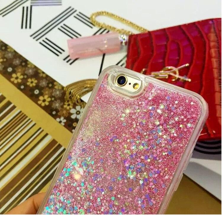 För iPhone 6 6S Plus 7 8 5 5S Fodral Glitter Liquid Quicksand - Reservdelar och tillbehör för mobiltelefoner - Foto 6