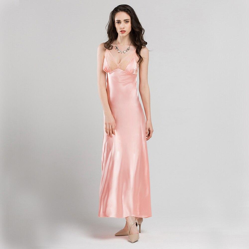 Fashion Silk Night dress Female Luxury Sleepwear Women   Nightgowns   Sexy Lace N-Neck Long Nightdress   Nightgowns   Ladys   Sleepshirts