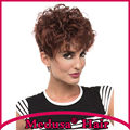Medusa hair products: Synthetic pastel wigs for women Artfully Short pixie cut styles curly Dark red wig with bangs SW0282