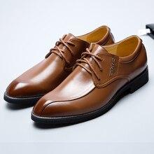 2017 высокое качество из лакированной кожи обувь в деловом стиле Роскошные Брендовые мужские Бизнес Свадебная обувь на плоской подошве на шнурках и оксфорды Осенняя мода обувь