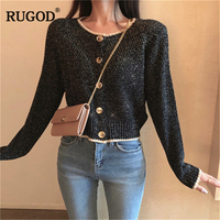 RUGOD New Fashion Female Short Sweater Autumn Winter Casual O Neck Single Breasted Knitted Cardigans For Women Sueter Mujer
