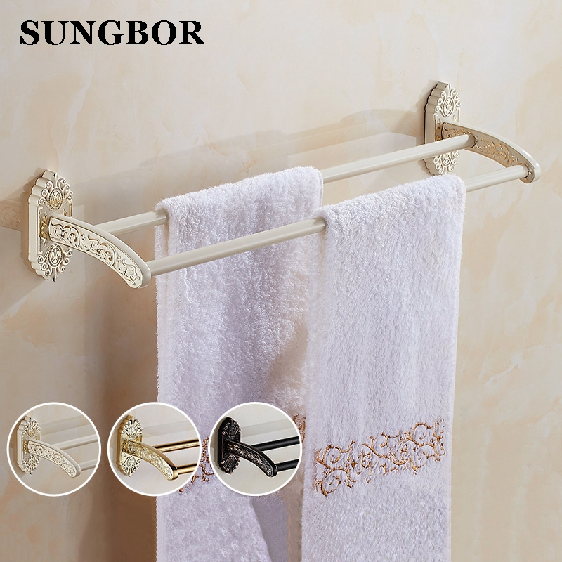 Luxury European Style High Quality Gold Plated Double Towel Bar Towel Rack Towel Holder Bathroom Accessories SL-5111H new arrivals wall mounted towel rack gold towel bar european style towel holder bathroom accessories