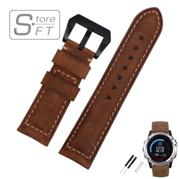 26mm Genuine Leather Watchband For Garmin Fenix 3 Crazy Horse Leather Band for Fenix 3 фара fenix bc21r