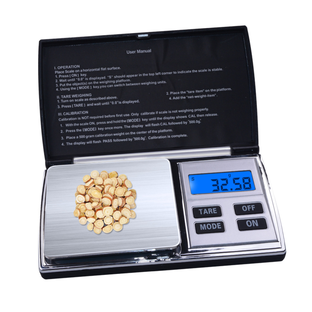 Yieryi 100g / 200g /300/ 500g X 0.01g Mini Pocket Jewelry Scale LCD Digital 500g, <font><b>1000</b></font> X 0.1g Balance Scale Electronic Scale image