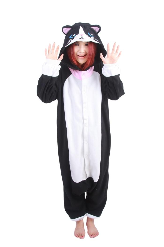 Unisex Fleece Adult Black Cat Onesies Animal Cosplay Costume Halloween Xmas Pajama