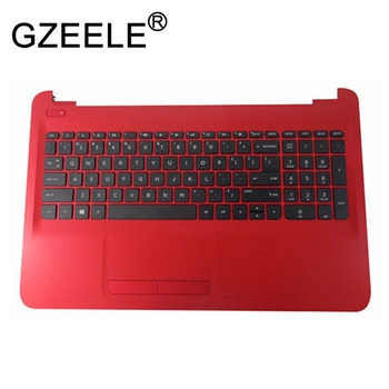 GZEELE new for HP 15-AY 15-BA Palmrest Top Case Assembly upper cover keyboard bezel red Touchpad 855024-001