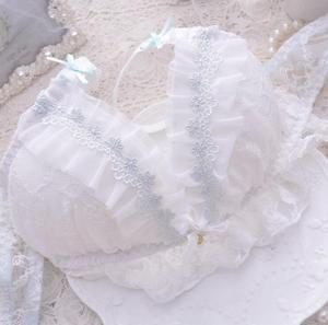 Image 5 - 100% Real Photos Good Quality Lolita Sexy Cute Kawaii Bridal White Lace Padded Wireless wire free Seamless Bra Panties Set RB293
