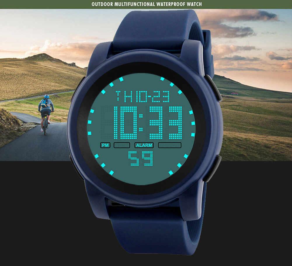 GEMIXI marka erkek izle LED dijital erkek kol saati siyah Alarm 50m su geçirmez spor erkekler için saatler Relogio Masculino