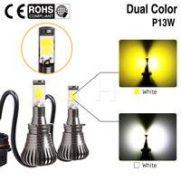 Nueva Luz Antiniebla P13W SH23W LED Bombillas Chevy Camaro Luz de Conducción Dual Colores Blanco Amarillo