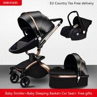 Бесплатная доставка! Бренд Babyfond 3 в 1 детская коляска из алюминиевого сплава детская коляска из кожи двухсторонняя ударная детская тележка 2