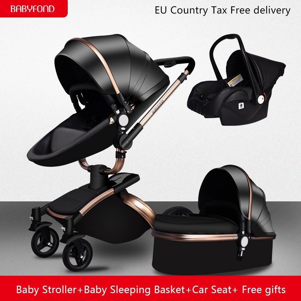 Бесплатная доставка! babyfond бренд 3 в 1 детская коляска алюминиевый сплав Детские коляски кожи Двусторонняя шок ребенка тележка 2 в 1 коляска