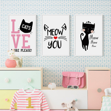 Bianche Wall Cute and Sweet Cat Cartoon Abstract Canvas Painting Art Print Poster Picture Mural Home Decoration, Decor